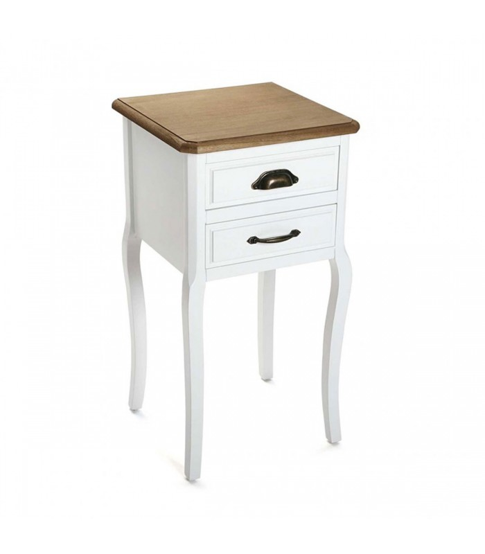 table de chevet classique 2 tiroirs blanc et bois. Black Bedroom Furniture Sets. Home Design Ideas