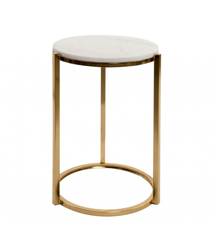 Round Side Table Golden Metal And White Marble