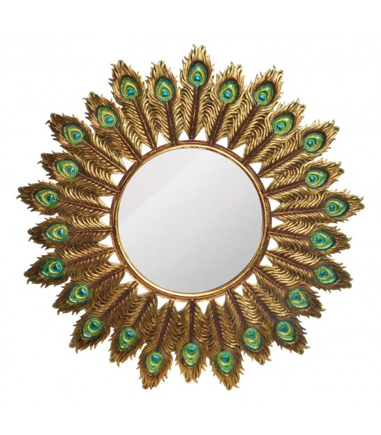 Wall Mirror Round Gold Peacock Feathers