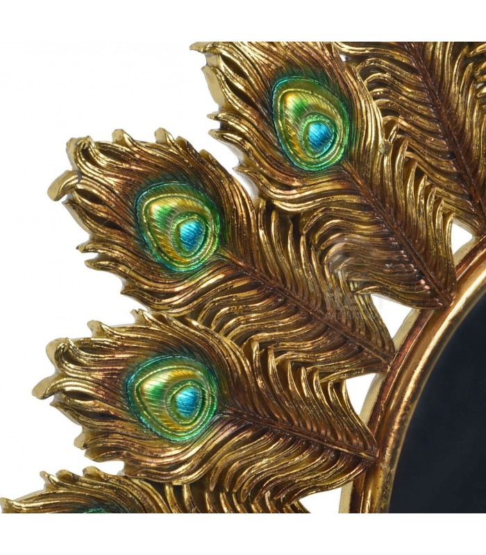 Unique Wall Mirror Round Gold Peacock Feathers QC03