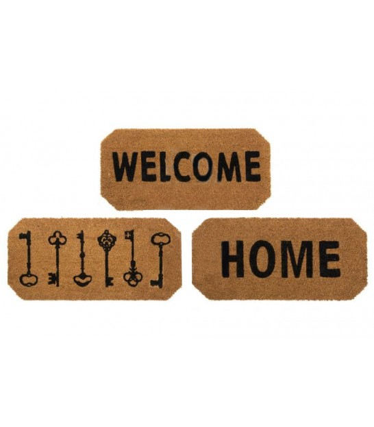 Set de 3 Paillassons Coco Welcome, Home, Clefs