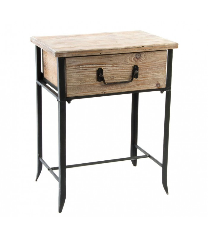 Bedside Table Wood And Metal Black 1drawer