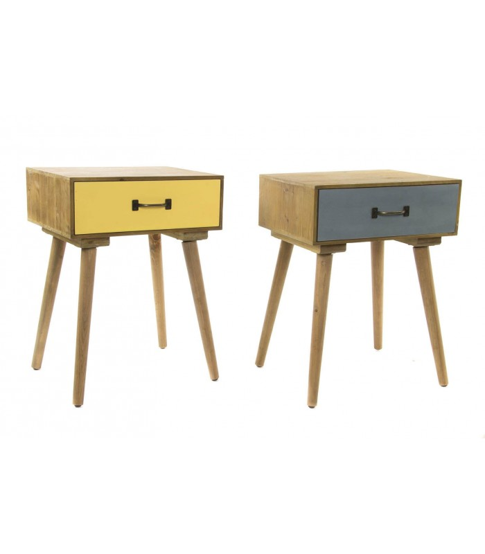 set de 2 tables de chevet bois jaune et gris. Black Bedroom Furniture Sets. Home Design Ideas