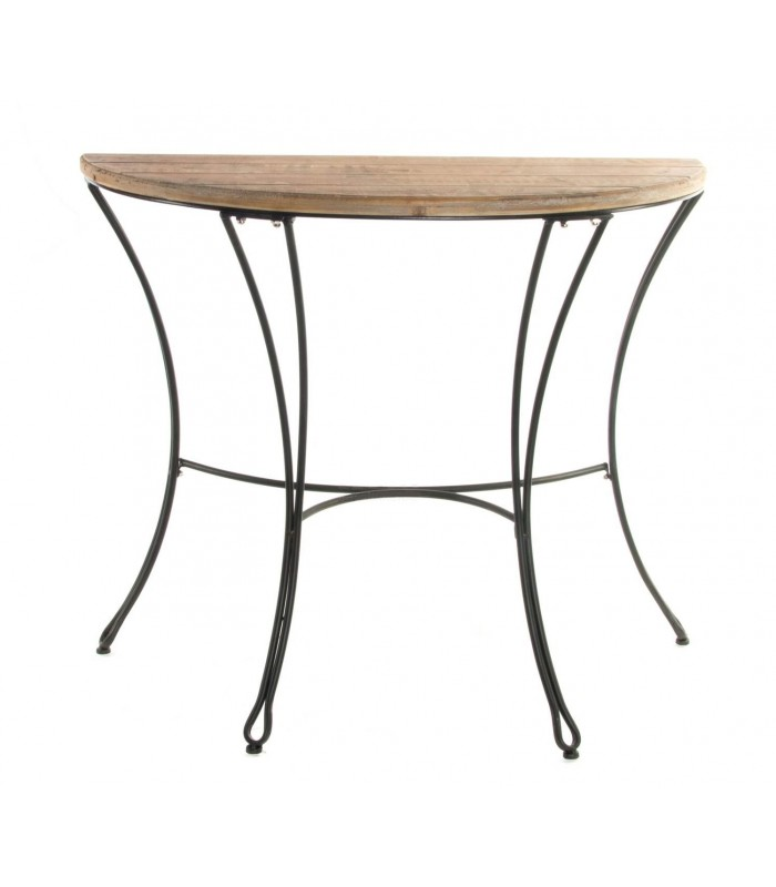 console table wood and black metal half moon. Black Bedroom Furniture Sets. Home Design Ideas