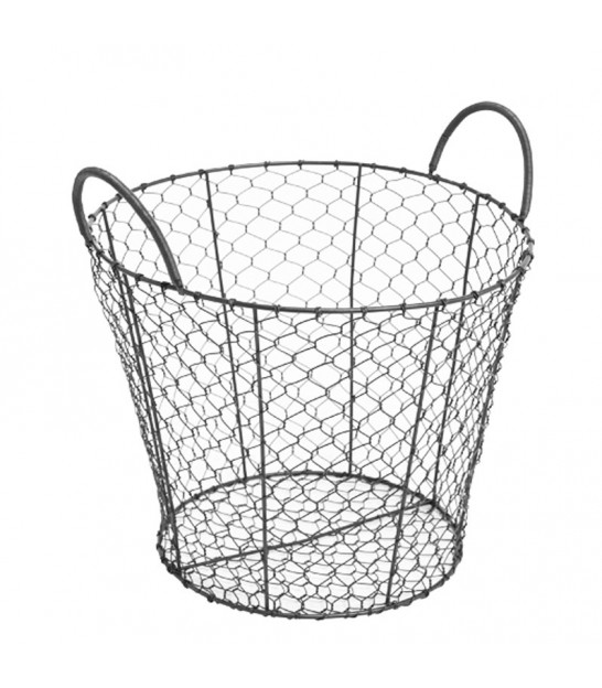 Round Black Metal Wire Basket