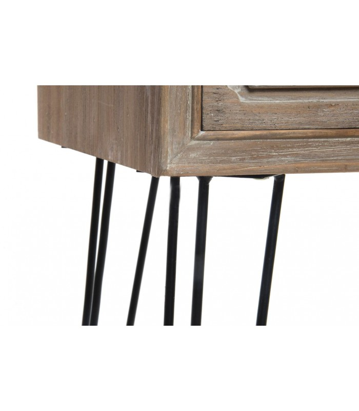 console en bois et m tal noir 2 tiroirs longueur 87cm. Black Bedroom Furniture Sets. Home Design Ideas