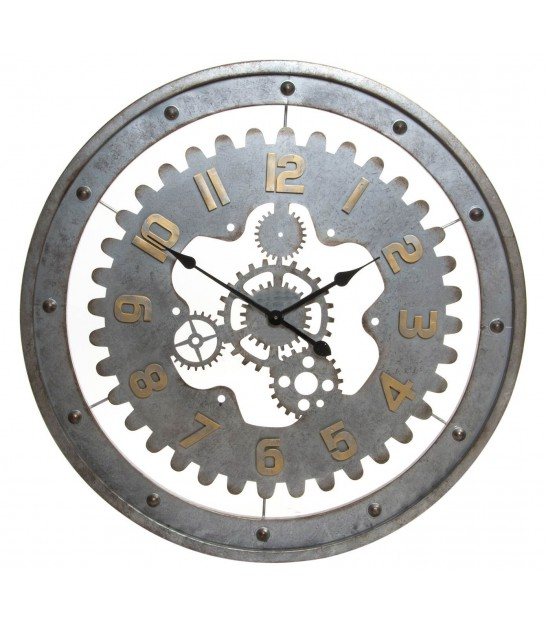 Wall Clock Metal Grey Gearing - Diameter 76cm