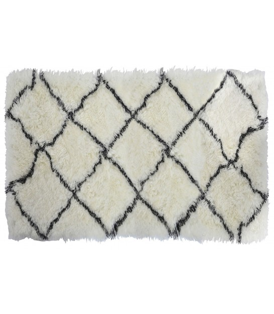 Rug 100% Polyester White and Black - 160*230cm