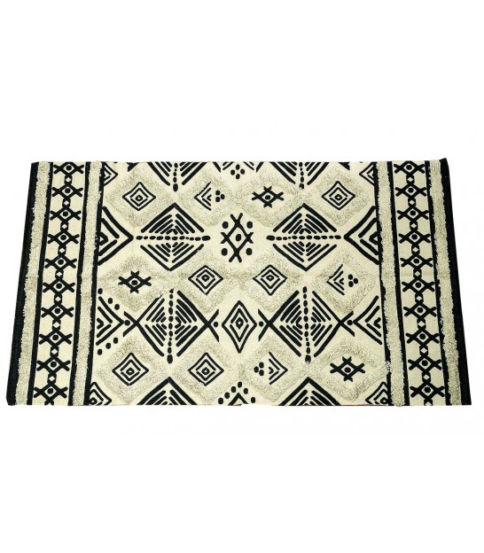 Ethnic Rug 100% Cotton Black and White - 90*150cm