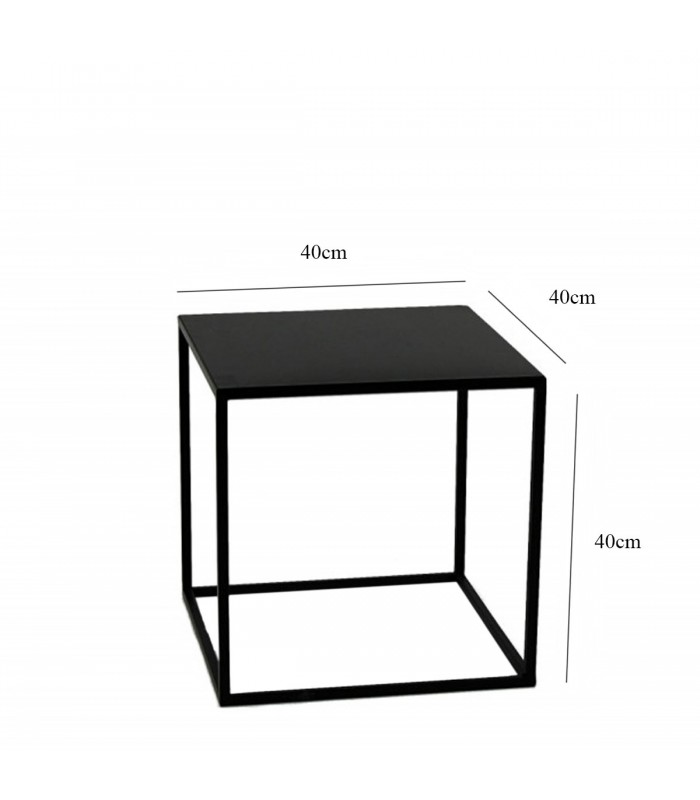 table d 39 appoint carr e bout de canap m tal noir 40x40x40cm. Black Bedroom Furniture Sets. Home Design Ideas