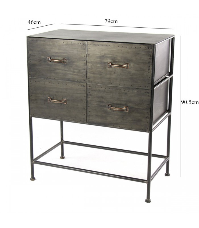 commode d 39 atelier style industriel en m tal gris 4 tiroirs. Black Bedroom Furniture Sets. Home Design Ideas