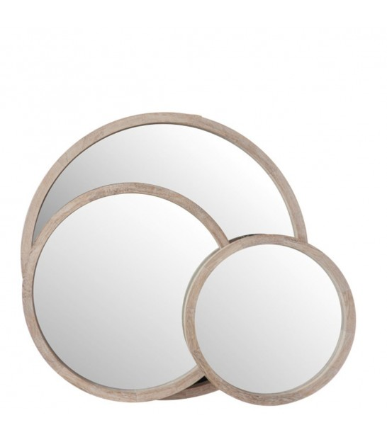 Round Wall Mirror Wood White Wash - Diameter 35cm