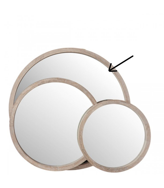 miroir rond en bois blanchi diam tre 60cm. Black Bedroom Furniture Sets. Home Design Ideas