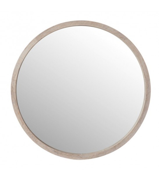 Round Wall Mirror Wood White Wash - Diameter 45cm
