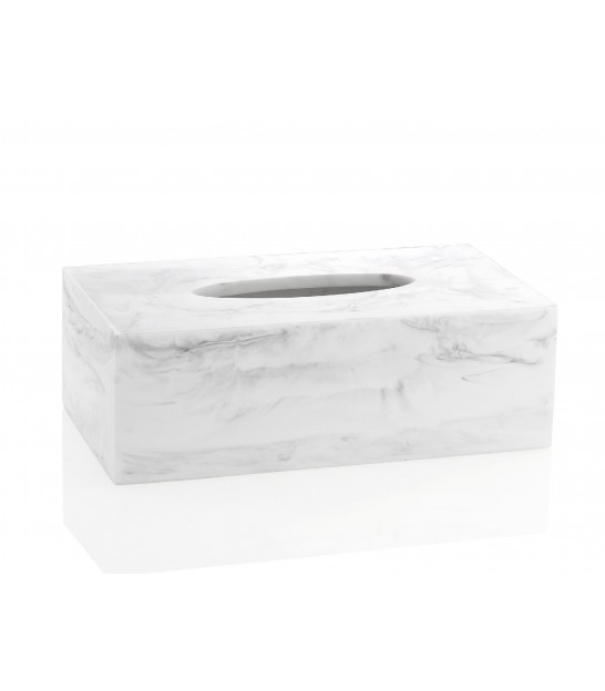 Tissue Box Resin White Marble Effect