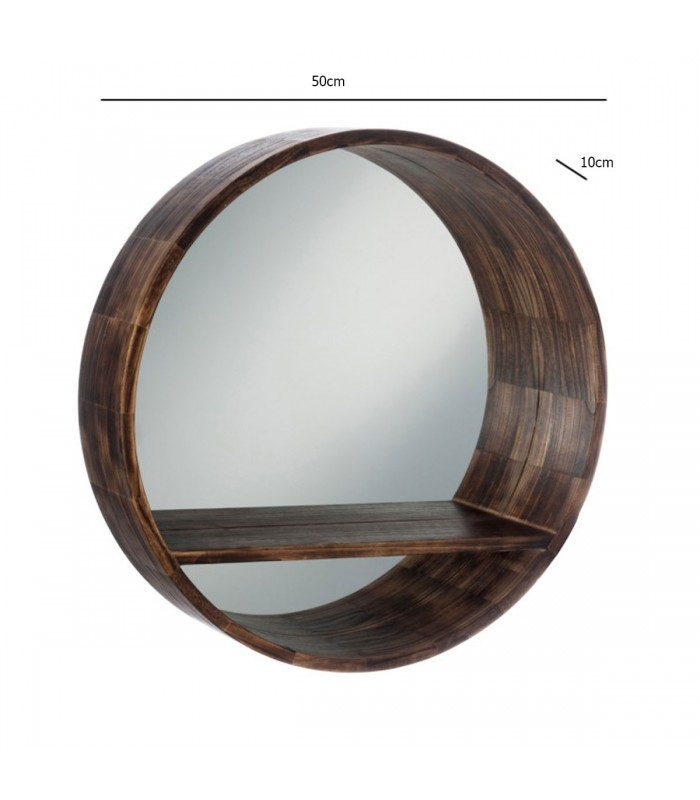 miroir rond avec tablette cadre bois marron fonc. Black Bedroom Furniture Sets. Home Design Ideas