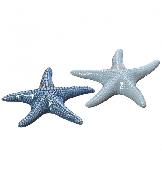 Set de 2 Étoiles de Mer Décoratives Porcelaine Bleue Déco Table