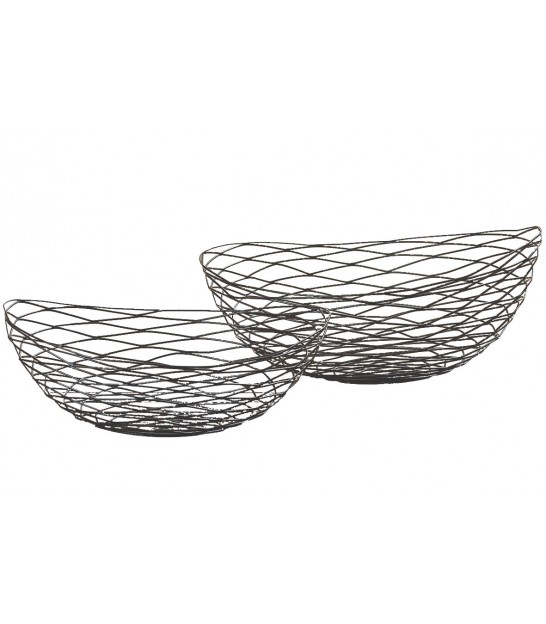 Set of 2 Fruit Baskets Black Metal