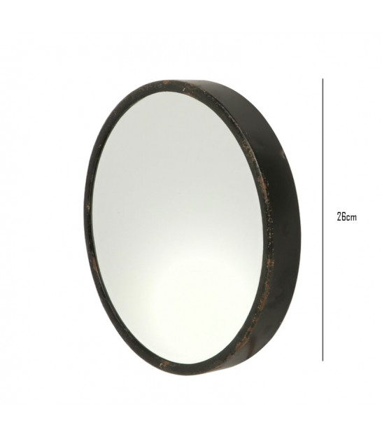 Round Mirror Black Metal - Diameter 30cm
