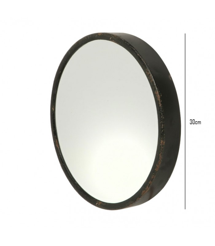 Round mirror black metal diameter 30cm for Grand miroir metal noir