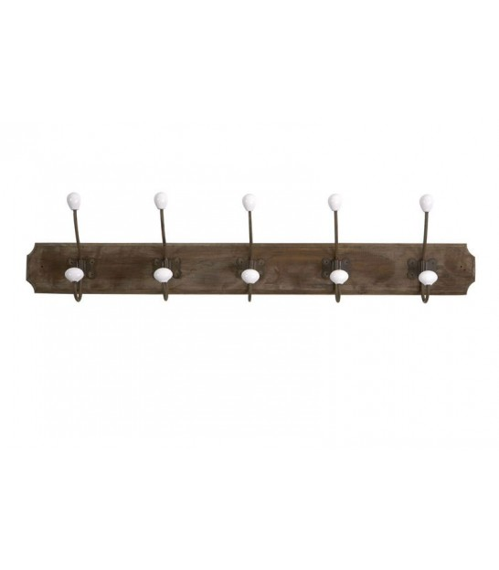 Wall Coat Rack Wood, Metal and Ceramic