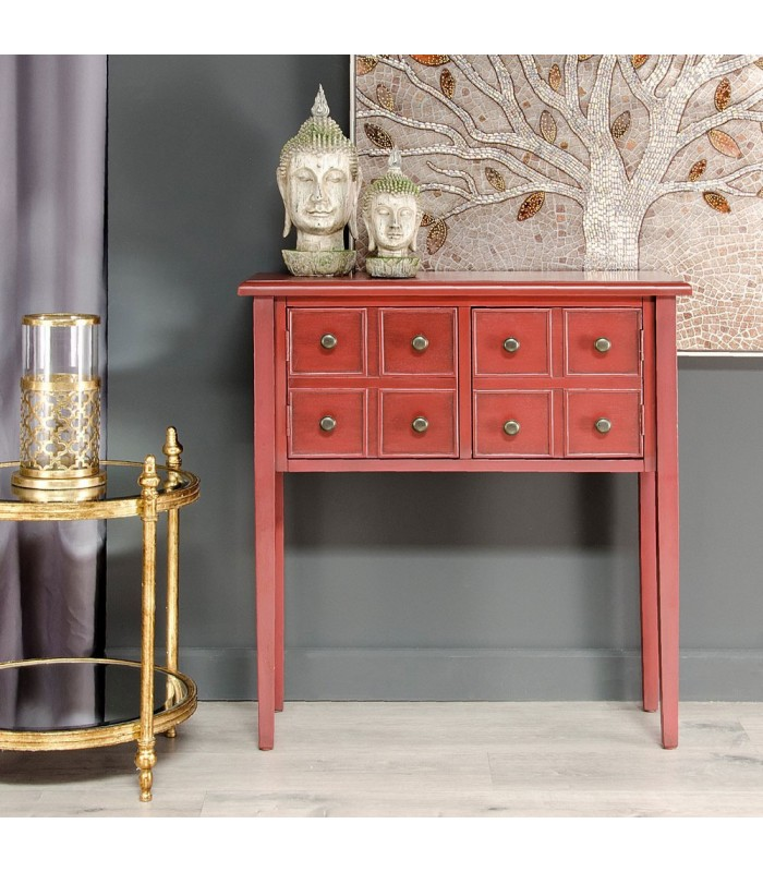 commode d 39 entr e en bois rouge style asiatique 2 portes. Black Bedroom Furniture Sets. Home Design Ideas