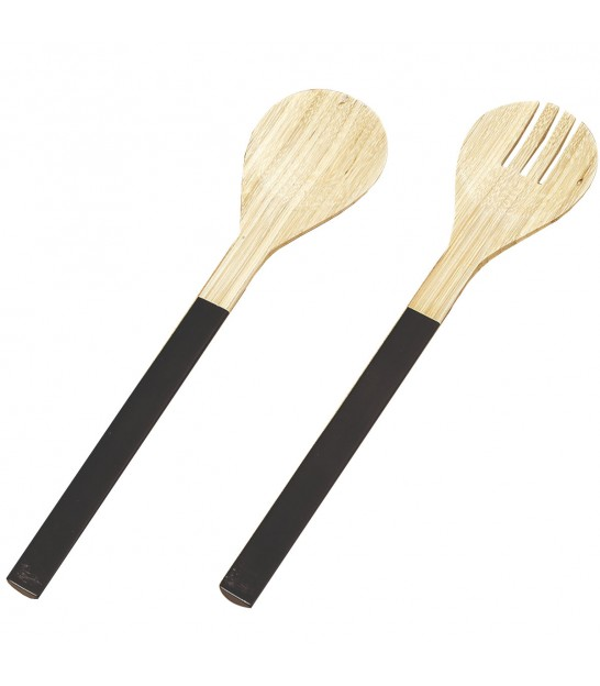 Matt Black Spun Bamboo Long Handle Salad Servers
