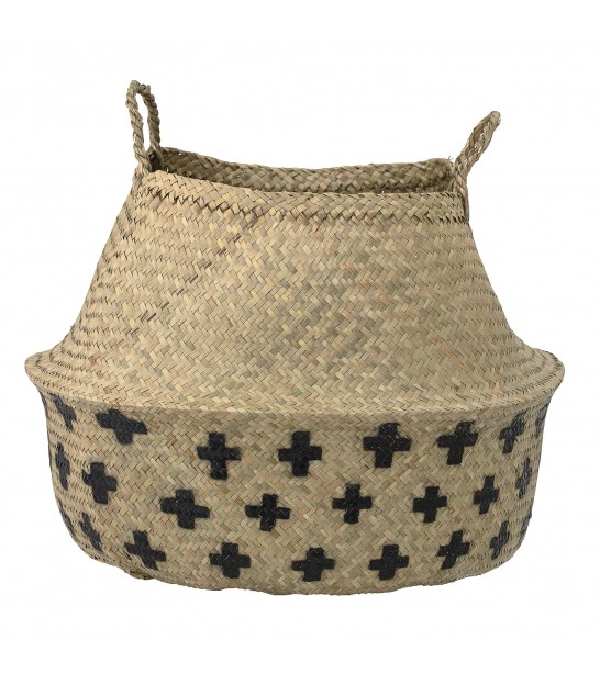 Wicker Basket Bicolor Black and Brown