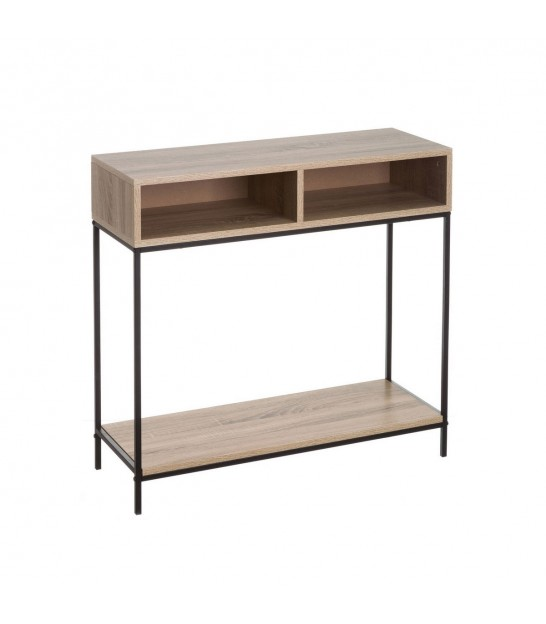 Console Table Wood MDF and Black Metal