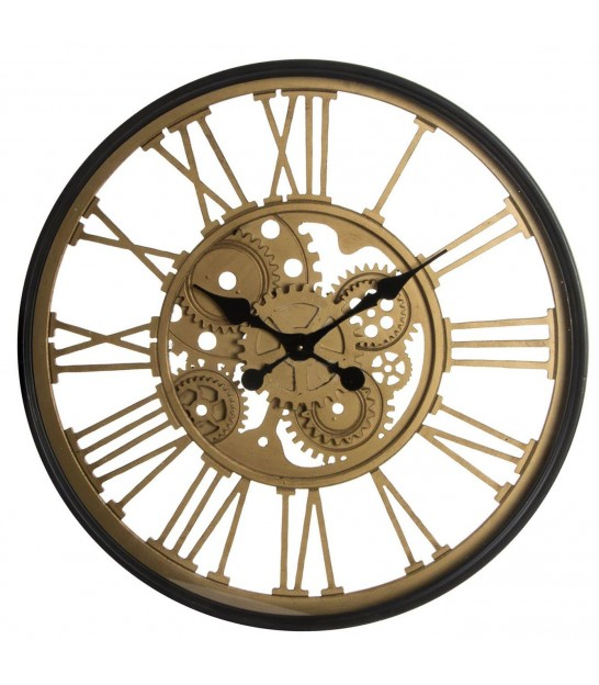 Golden Round Wall Clock Glass and Wood