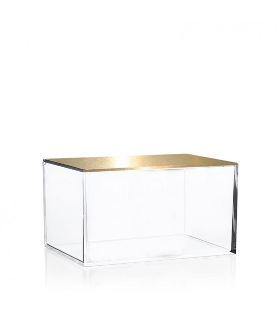 Bathroom Organizer Box Acrylic and Golden Metal