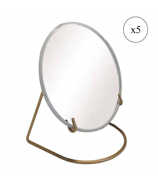 Magnifying Mirror Metal Gold x5