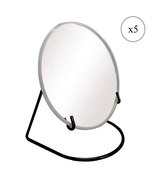 Magnifying Mirror Metal Black x5