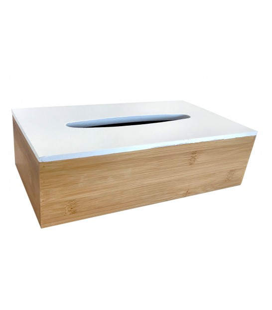 Tissue Box Bamboo White