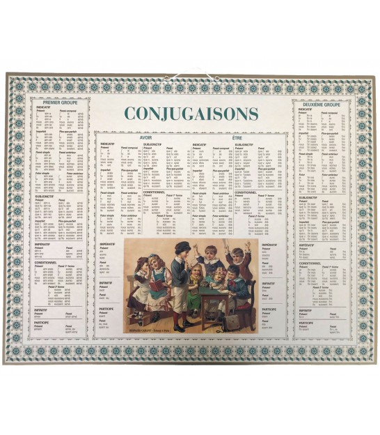 Educational Cardboard Poster French Conjugation