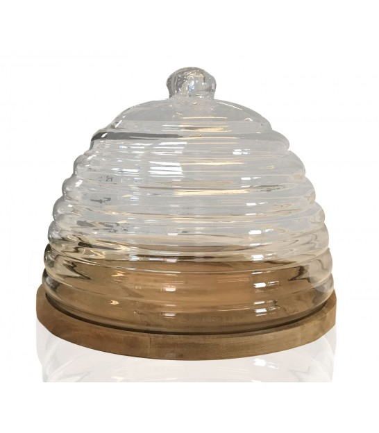 Cheese Tray Wood and Bell Glass Round