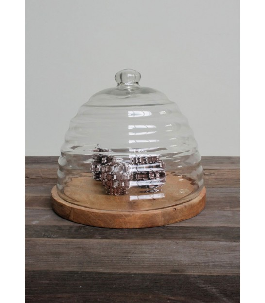 Cheese Tray Wood and Bell Glass Square
