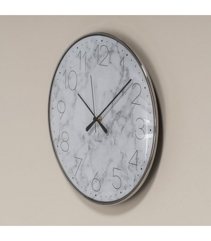horloge murale ronde fond motif marbre blanc. Black Bedroom Furniture Sets. Home Design Ideas