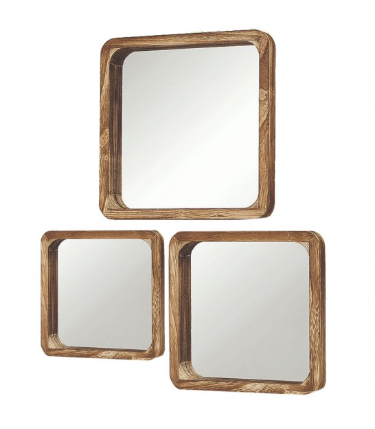 Set of 3 Wooden Square Mirrors