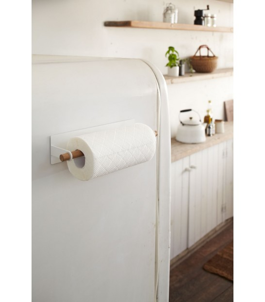 Paper Towel Dispenser Wood and White Metal