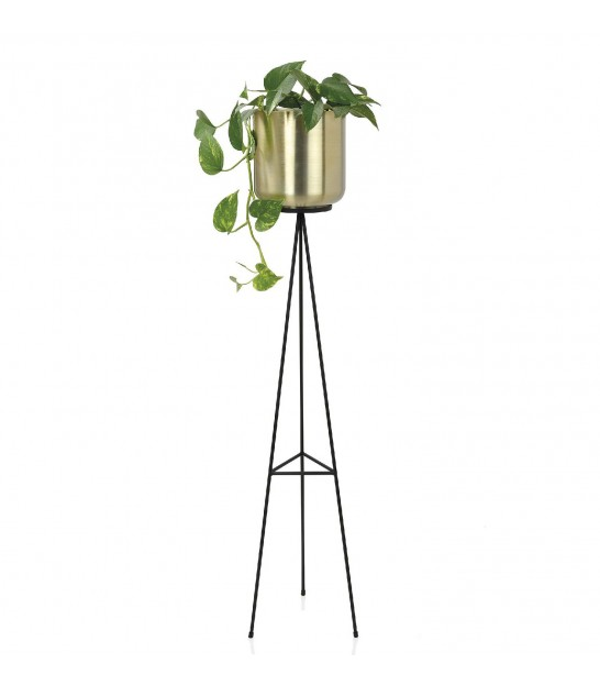 Plant Pot Holder on Stand Black and Gold - 120cm