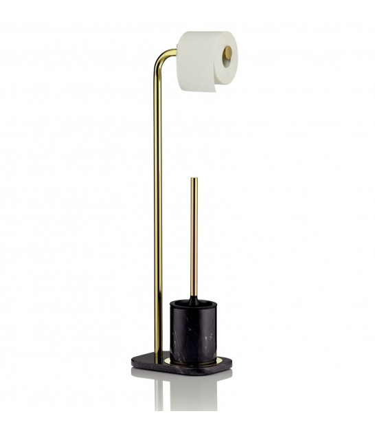 Toilet paper dispenser with Toilet brush holder Marble and Golden Metal