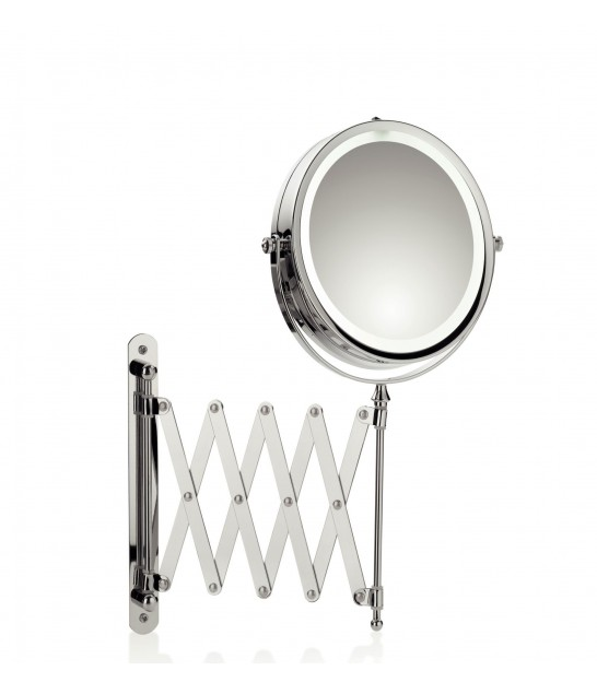 Wall Magnifying Mirror Brilliant Chrome Metal x 5 with LED