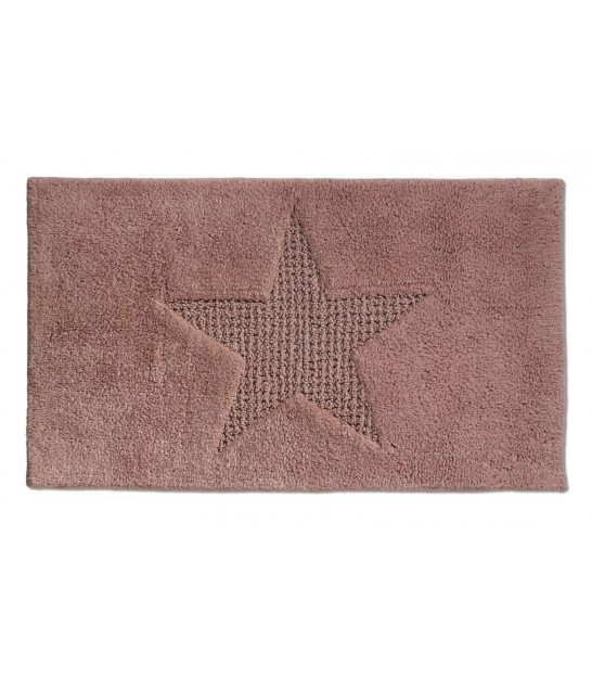 Bath Mat 100% Cotton Pink Star - 100x60cm