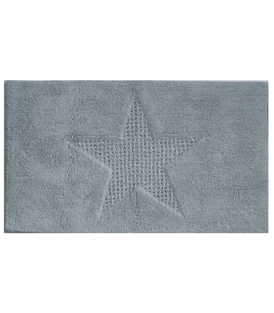Bath Mat 100% Cotton Grey Star - 100x60cm