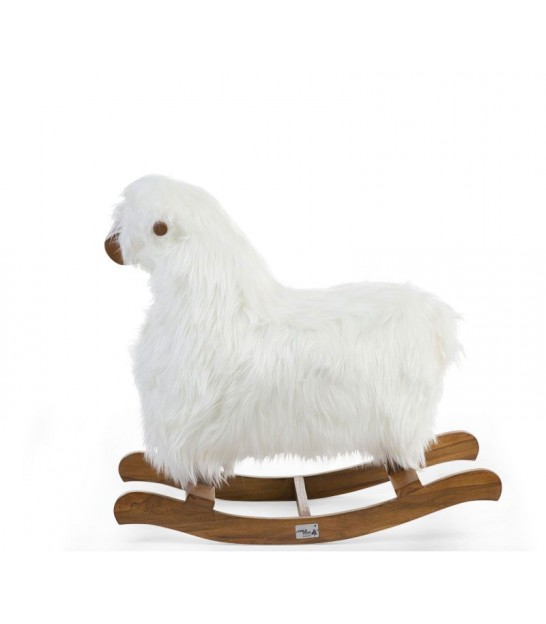 Rocking Sheep White and Brown Teak Wood