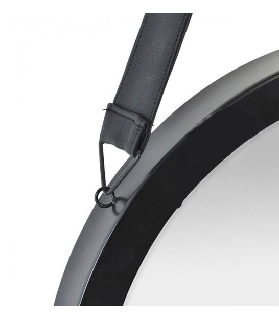 Wall Round Mirror Black Metal and Leather Ø40.5cm