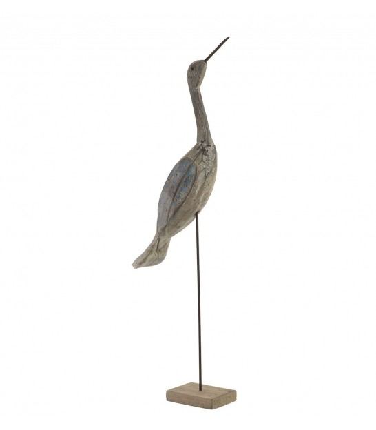 Bird Decorative Sculpted Wood and Metal Heron