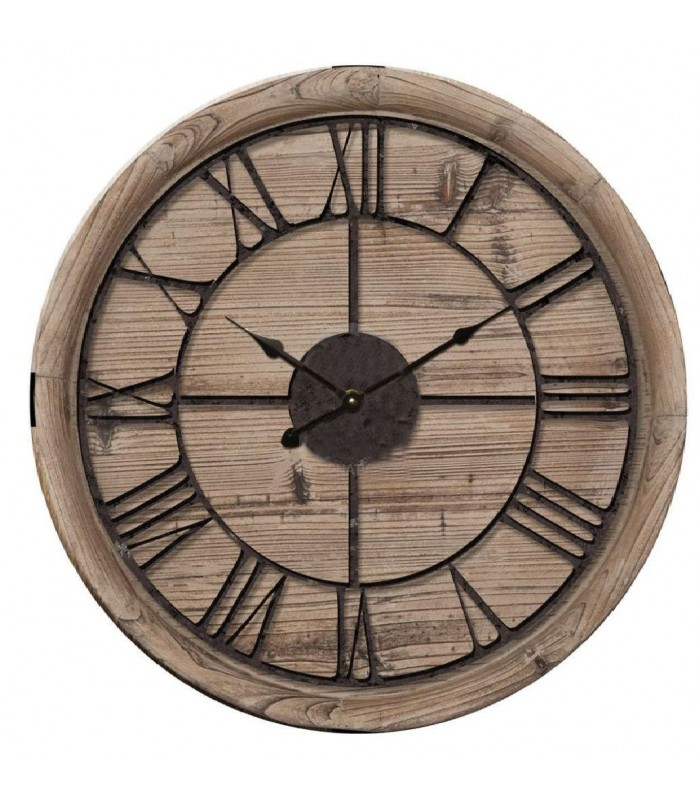 horloge murale ronde bois et m tal noir 60cm. Black Bedroom Furniture Sets. Home Design Ideas