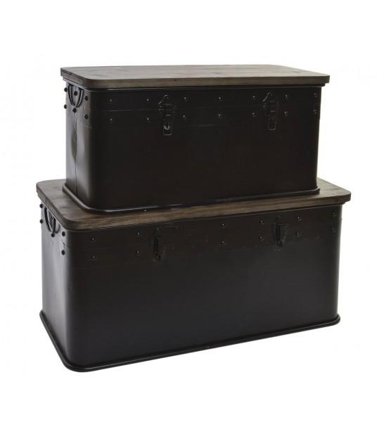 Set of 2 Storage Trunks Black Metal and Wood